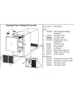 ICERETTE: ICEMAKER ASSY. COMPLETE, 230V