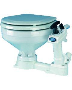 WC marine porcelain bowl and wood seat.