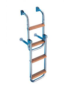 Folding stainless steel and wood ladder